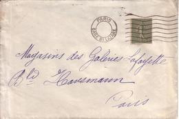 """PARIS , GUERRE 1914-1918 - LETTRE PARIS POUR PARIS , AVEC OBLITERATION MECANIQUE BLOC DATEUR EVIDE """" PARIS ST LAZARE """" - Marcophilie (Lettres)"""