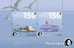 Russia. Peterspost. Modern Ships Of The Baltic Sea, 2019, Block (FV Price!) - Bateaux