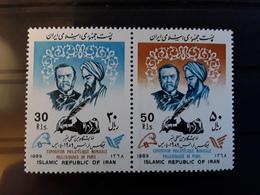 """IRAN - SG 2535.2536 - 1989 """"PHILEXFRANCE '89"""" INT. STAMP Exhibition Louis PASTEUR & AVICENNA Paire  SE-TENANT ** MNH - Louis Pasteur"""