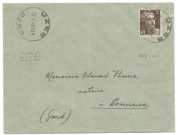 MARIANNE DE GANDON 3f / UZES GARD POUR CONNAUX / 1946 - Marcophilie (Lettres)