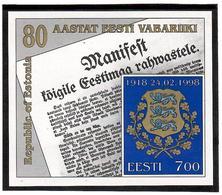 Estonia 1998 . Republic Of Estonia - 80. Imperforated S/S: 7.00  Michel # BL 11 - Estonie