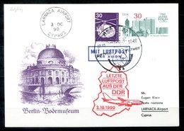 5553 - DDR - Ganzsache P98 C5 + Zus.-Frank. Berlin Als Letzte Luftpost Der DDR Vom 2.10.1990, Berlin > Larnaca / Zypern - Postcards - Used