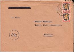6 Wappen 12 Pf. Als MeF Auf Brief KONSTANZ 21.3.1946 Nach Erlangen - Zone Française