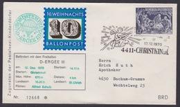 10. Ballonpost Österreich Christkindl Weihnachten 1970 - FDC
