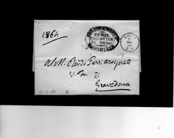 CG1 - Como - Piccolo Cerchio N. 7 Sardo Ital. + Bollo Curia Arcivescovile Di Como - Lett. Per Gravedona 20/12/1860 - Italia