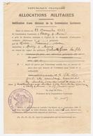 ALLOCATIONS MILITAIRES 1940 - COMMISSION CANTONALE DE VAILLY Sur AISNE (02) - Mr GRAVE MISSY Sur AISNE - 1939-45