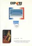 ENCART PHILATELIQUE ET TELECARTE / DOCUMENT N°5 / LE PAVILLON DE LA FRANCE A SEVILLE EXPO UNIVERSELLE 92 / 1992 /N° 1224 - Cultura