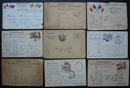 Cartes En Franchise Militaire, Lot De 9 Cartes  De La Première Guerre Mondiale (WW1), Voir Photos - Postmark Collection (Covers)
