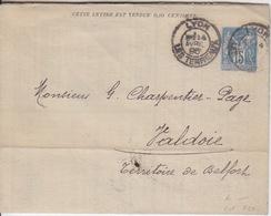 Lettre Annonce 15c Sage, Obl. Lyon Le 14 Avril 96 (Hôtel, Lunettes, Orge, Photographies, Chocolat, Meubles, Cycles, ... - Postal Stamped Stationery