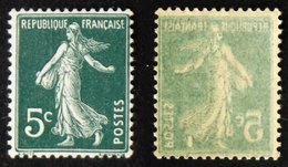N° 137 5c SEMEUSE Imp. Recto-verso Neuf N** Cote 15€ - 1906-38 Semeuse Camée
