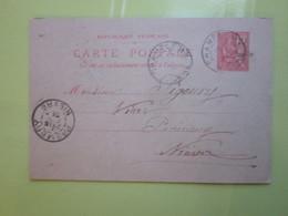Carte Postale,Timbre Entier Type MOUCHON 10cts Oblitérée Champlemy & Prémery (58) 14/07/1901 (100 L De Vin) LEON GUIBERT - Enteros Postales