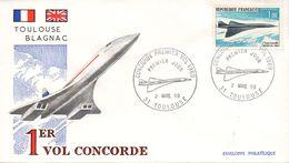 FDC / Premier Jour Enveloppe Philatélique N° PA  43 - Concorde, Avion Supersonique à Toulouse - FDC