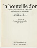 LA BOUTEILLE D'OR - RESTAURANT - PARIS - FACE A LA GRANDE ROSACE DE NOTRE DAME - - Cartoncini Da Visita