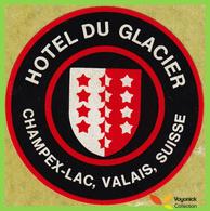 Voyo HOTEL DU GLACIER Champex-Lac Switzerland Hotel Label  Sticker 1970s Vintage - Hotel Labels