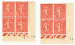 Semeuse Lignée 50c Yvert 199, Paire AD + AC Du 3-1-29, ** - Coins Datés