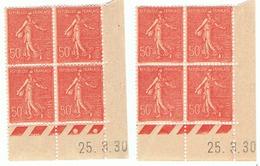 Semeuse Lignée 50c Yvert 199, Paire AN + A0 Du 25-3-30, ** - Coins Datés