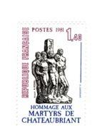 Martyrs De Châteaubriant YT 2177 Avec GOMME MATE + Normal . Rare , Voir Le Scan . Cotes Maury N° 2182 + 2182a : 30.70 € - Variétés Et Curiosités