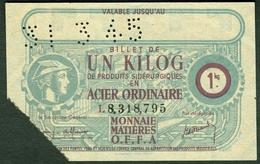 """Coupon D'achat 1945 France """" UN KILOG ACIER ORDINAIRE """" Carte Ravitaillement Monnaie Matieres - Historische Dokumente"""