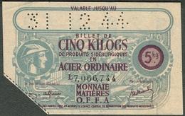 """Coupon D'achat 1944 France """" CINQ KILOG ACIER ORDINAIRE """" Carte Ravitaillement Monnaie Matieres - Historische Dokumente"""