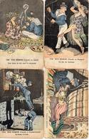 Illustrateur A P JARRY - Nos Marins En Escale X 4 Constantinople Espagne Japon Tunis (bords Arrondies - Autres Illustrateurs