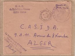 ALGERIE - AGENCE POSTALE - LETTRE CAD DJEBEL AISSA MIMOUN S.A.S. TIZI OUZOU + CACHET POUR ALGER - 1959 - Lettres & Documents