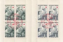 FRANCE - PARTIE DE CARNET CROIX ROUGE 1966  8 TIMBRES   - OBLITERATION 1er JOUR SAINT ETIENNE 10.12.1966 / 2 - Markenheftchen