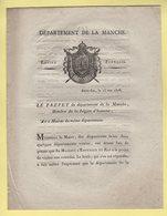 Prefet De La Manche - 25 Mai 1808 - Document Relatif A La Visite De L Empereur Dans Le Departement De La Manche - Documents Historiques