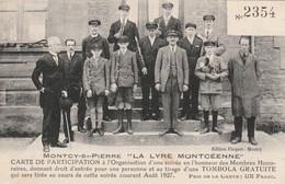 CPA:MONTCY SAINT PIERRE (08) GROUPE HOMMES DE LA LYRE MONTCÉENNE CARTE DE PARTICIPATION TOMBOLA AOÛT 1927 - France