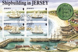 Jersey, 1992, 577/80 Block 6, Schiffbau Auf Jersey, Used First Day, Oo - Jersey