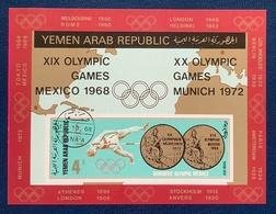 Yemen North, 4 B. 1968, Mi # Block78, Souvenir Sheet, Olympic Games, Used - Yemen
