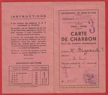 Carte De Charbon Dep De Seine-et-oise .Ville De GAGNY 1941/1942 - Documents Historiques
