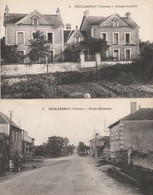2 CPA:CHALANDRAY (86) GROUPE SCOLAIRE,ROUTE NATIONALE...ÉCRITES - France