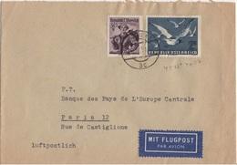 AUTRICHE YT PA N°57 OBLITERE SUR LETTRE POUR LA FRANCE - 1945-.... 2a Repubblica