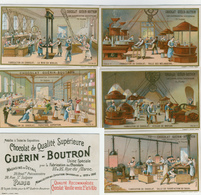 5 CHROMOS.....GUERIN BOUTRON...LITH MINOT......DIFFÉRENTES INDUSTRIES.... FABRICATION DU CHOCOLAT - Guérin-Boutron