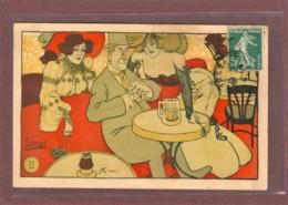 ILLUSTRATEUR - EDOUARD BERNARD - BOURGEOIS DANS UN CABARET PARISIEN - 2 SCANS - Altre Illustrazioni