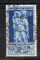 APR549 - AFRICA ORIENTALE ITALIANA 1938 , Sassone N. 26 Usato  (2380A)  Augusto - Italienisch Ost-Afrika
