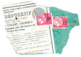 """Timbres Fiscaux """"impôt"""" Sur Fragment - Revenue Stamps"""
