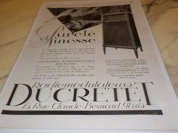 ANCIENNE PUBLICITE PURETE ET FINESSE  DUCRETET 1927 - Autres