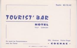 17 - COGNAC - CARTE DE VISITE - HOTEL - TOURRIT' BAR - AVENUE VICTOR-HUGO - Cognac