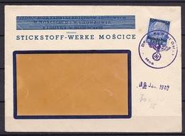 GG DEUTSCHE POST OSTEN MOSCICE HINDENBURG 50 GR V. 10.1.1940 - Allemagne