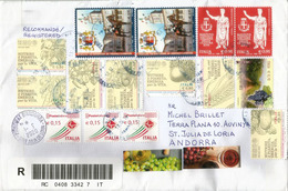 """Belle Lettre Recommandée D'Italie, Série Expo Universelle Milano 2015 """"Nutrire Il Planeta"""",  Adressée Andorra - 6. 1946-.. Republic"""