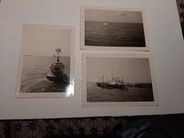 Lot 3 Photos Vintage Port Ostende Aout 1963 Bateau Pêche Bouée Marine - Photos