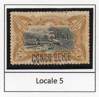 Congo - Cob 35L - Locale L5 X + à Cheval En Haut -   Rare Nuance JAUNE OLIVE / Shade Yellow Olive - RRR - KX2 - 1894-1923 Mols: Mint/hinged
