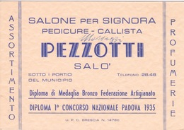 ITALIE - SALON PEZZOTTI - SALO' 1935 - PARFUMERIE PEDICURE POUR DAME - Adesivi Di Alberghi