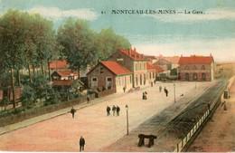 71. CPA. MONTCEAU LES MINES.  La Gare, Colorisée. - Montceau Les Mines