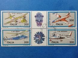 1981 ITALIA AEREI COSTRUZIONI AERONAUTICHE BLOCCO FRANCOBOLLI USATI ITALY STAMPS USED - 1946-.. Republiek