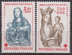 Sculptures En Bois Polychrome - FRANCE - Vierge à L'enfant, Baillon, Genainville - Croix Rouge - N° 2295-2296 ** - 1983 - Nuevos