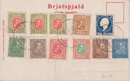 Ansichtskarte Ellidaar-Foss, Island Mit Marken Von 1902 Bis 1911 - Cartas