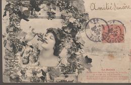 C. P. A. - BERGERET - LE RAISIN - DÉFIEZ VOUS DES FRUITS CAPITEUX DE LA TREILLE - JE VOUS LE DIS BAS A L'OREILLE - SI VO - Bergeret