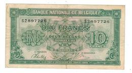 Belgium, 10 Fr / 2 Belgas, 1943. P-122. Nice Grade. - [ 2] 1831-... : Reino De Bélgica